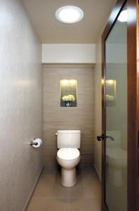 Un conduit de lumière installé dans des toilettes
